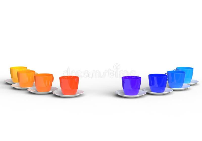 冷和温暖的颜色咖啡杯 免版税库存照片