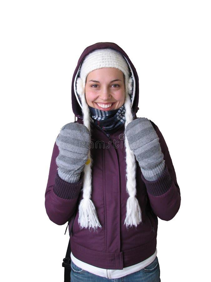 冷女孩天气 库存照片