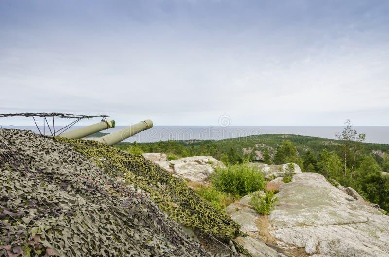 冷战海岸炮Hemso瑞典 免版税库存照片