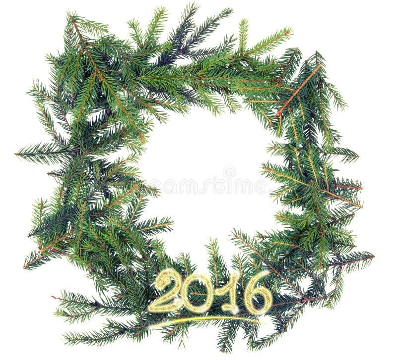 从冷杉分支的圣诞节框架与黄色装饰 免版税库存照片