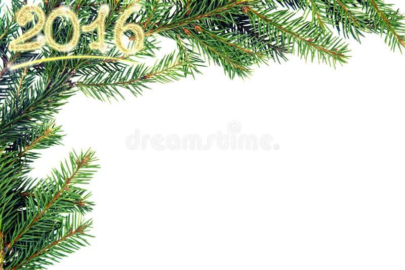 从冷杉分支的圣诞节框架 减速火箭定调子 库存照片