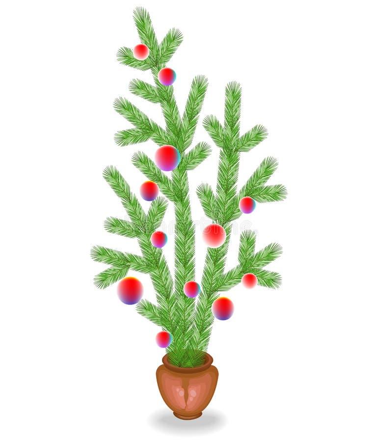 冷杉分支花束  圣诞节和新年的传统标志   用明亮的玩具装饰,球 向量例证