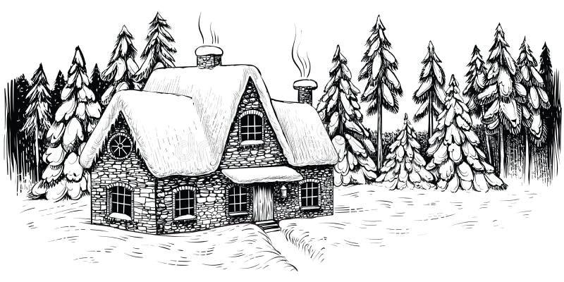 冷杉和杉木包围的冬天房子,盖用雪 圣诞节田园诗风景 向量例证