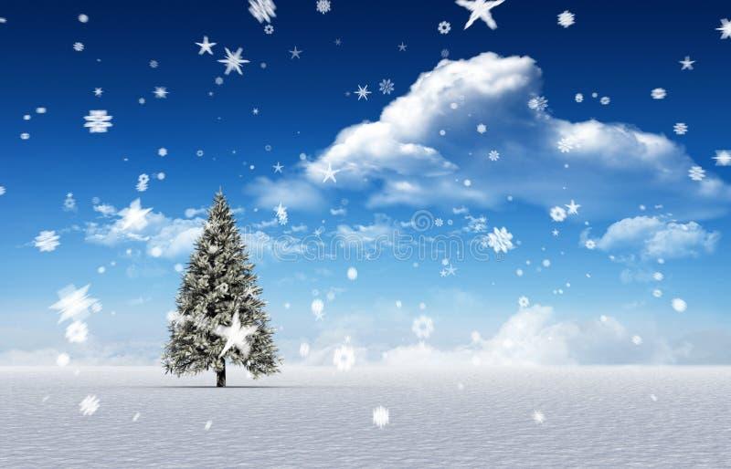 冷杉木的综合图象在多雪的风景的 皇族释放例证