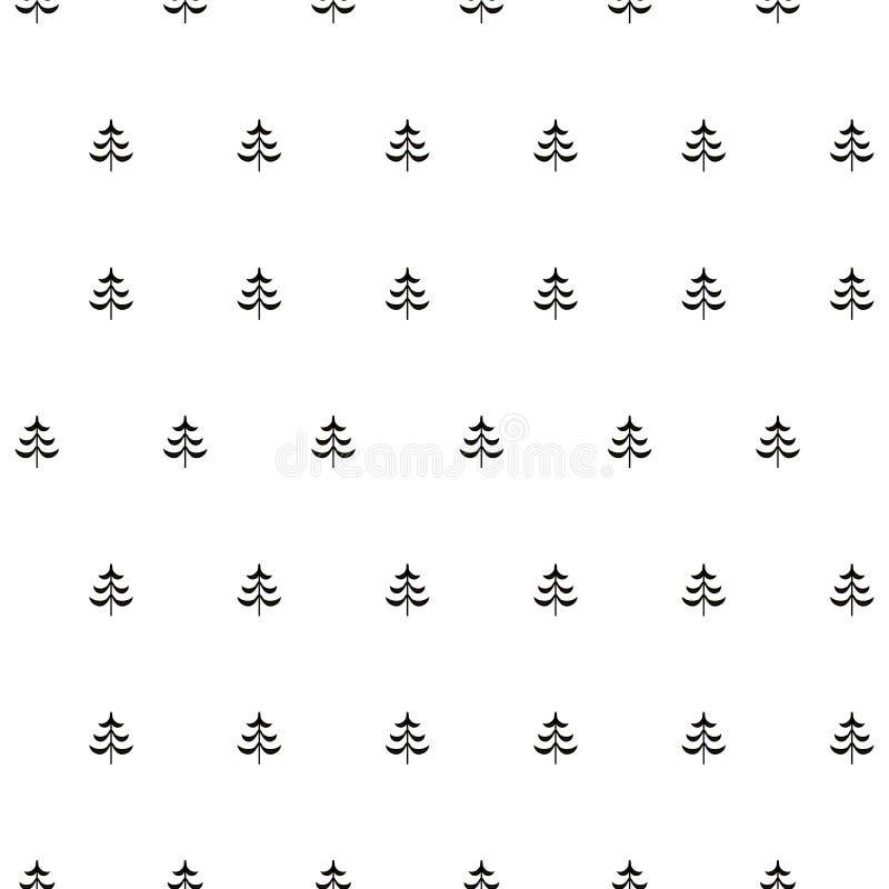 冷杉风格化树无缝的单色样式 皇族释放例证