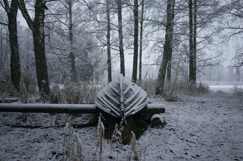 冷淡的多雪的小船好的细节照片在土地的在瑞典斯堪的那维亚在冬天 库存图片