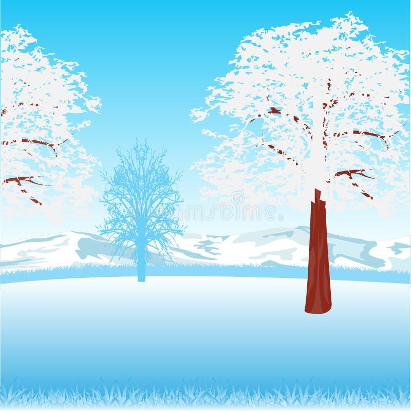 冷淡的早晨本质降雪冬天 向量例证