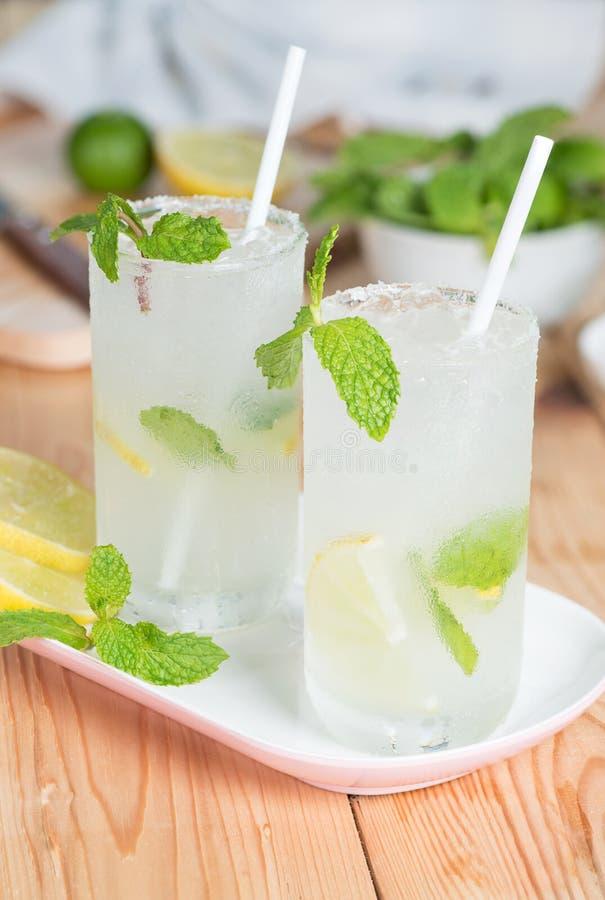 冷的刷新的夏天柠檬水mojito用新鲜的柠檬和薄菏 免版税库存照片