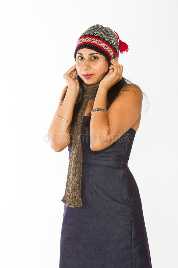 冷的印地安妇女 免版税库存照片