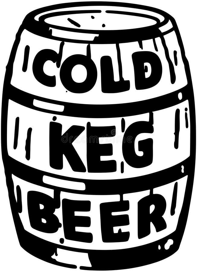 冷的小桶啤酒 向量例证