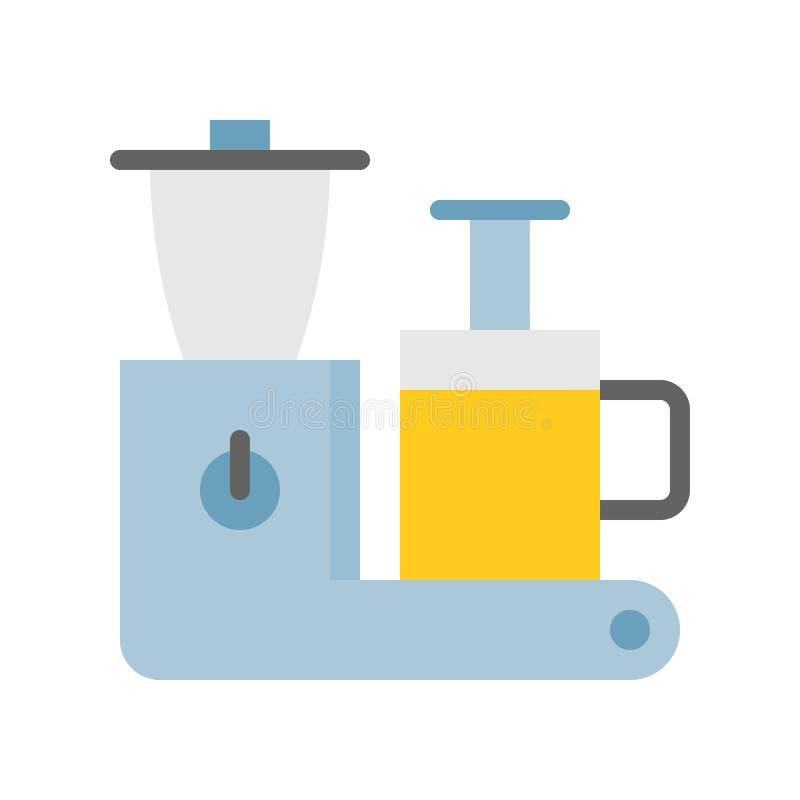 冷的新闻榨汁器机器 厨房器具平的象 向量例证