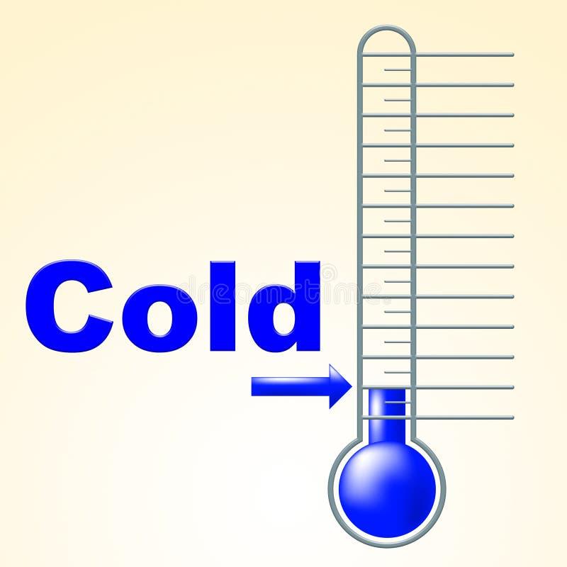 冷的温度计表明温箱结冰和结冰 皇族释放例证
