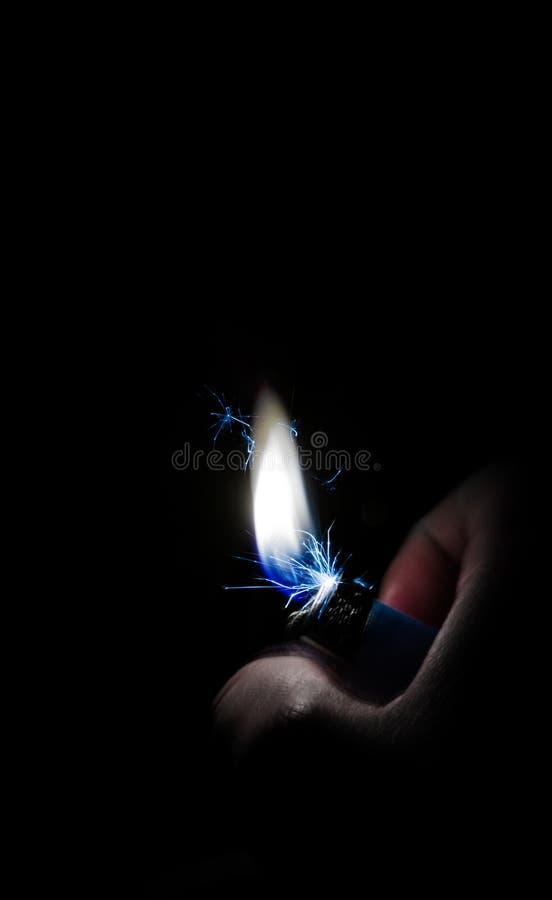 冷的火打火机闪电火焰 库存照片