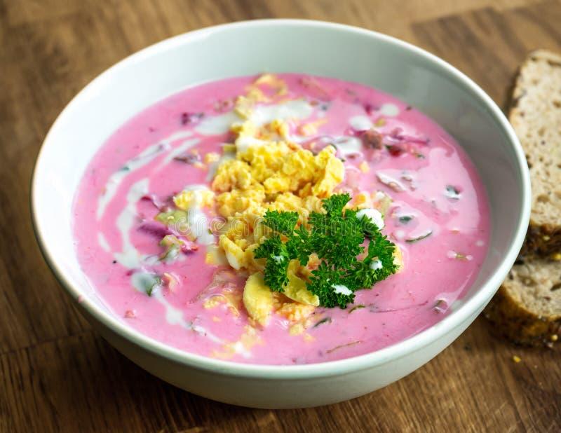 冷的甜菜根汤用牛肉、菜和鸡蛋 库存照片