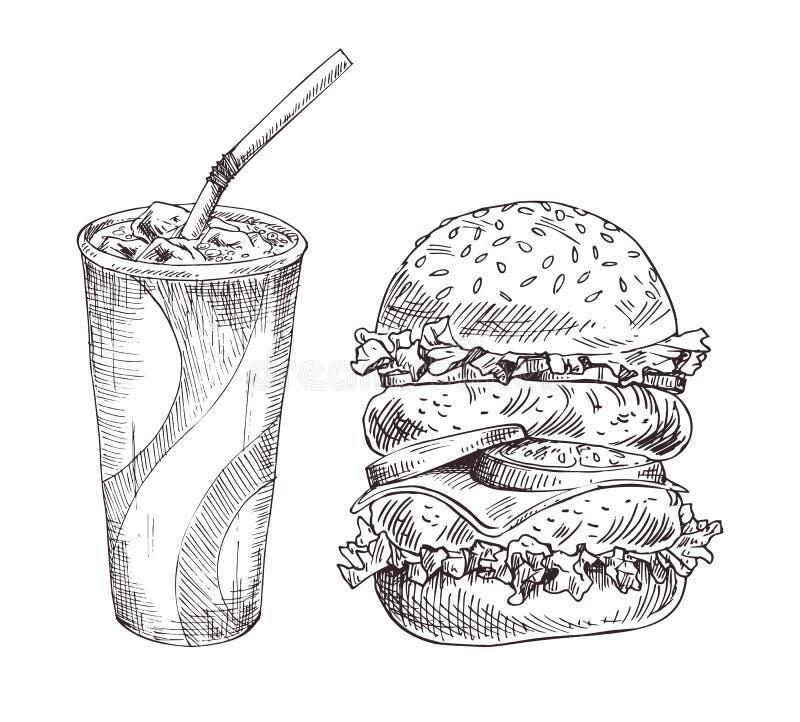 冷的软的饮料和巨大的汉堡形象艺术 库存例证