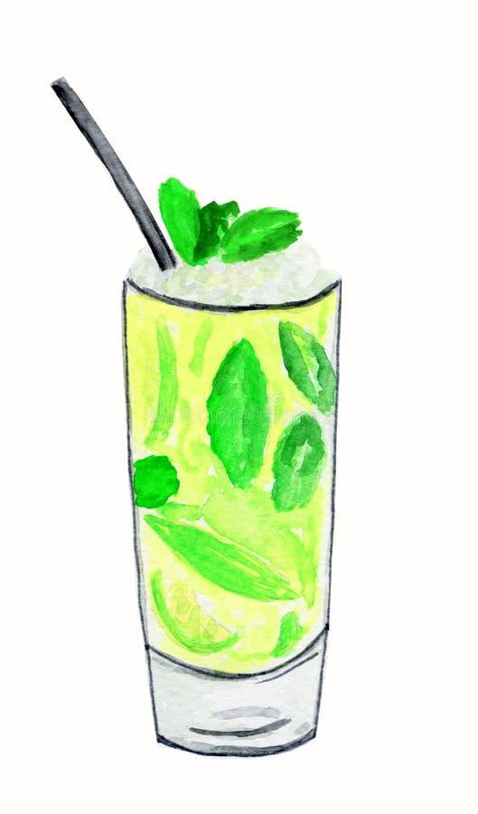 冷的饮料水彩图画  免版税库存照片