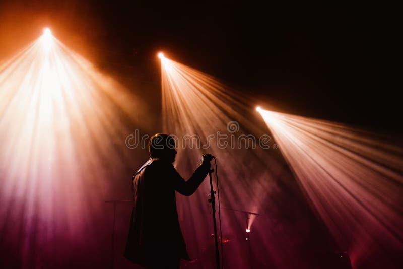 冷的洞带执行在杰克丹尼尔的音乐天节日 免版税图库摄影