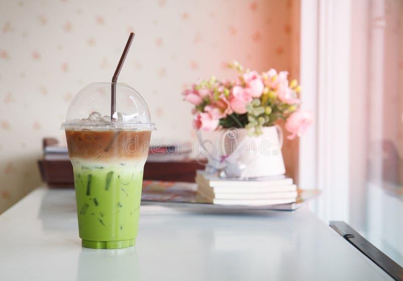 冷的绿茶混合咖啡 免版税库存图片