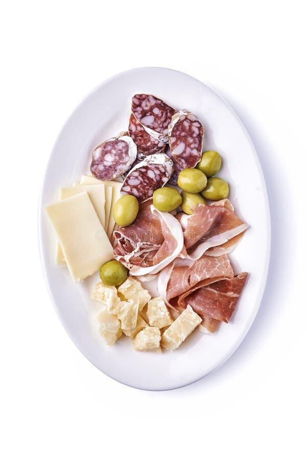 冷盘和乳酪在板材 库存图片