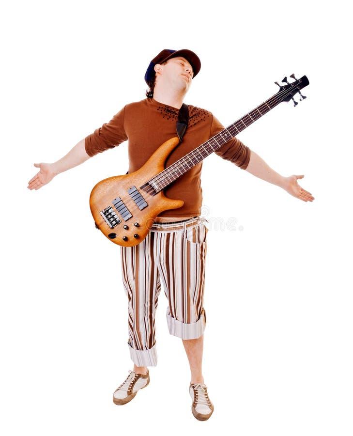 冷静吉他音乐家白色 免版税图库摄影