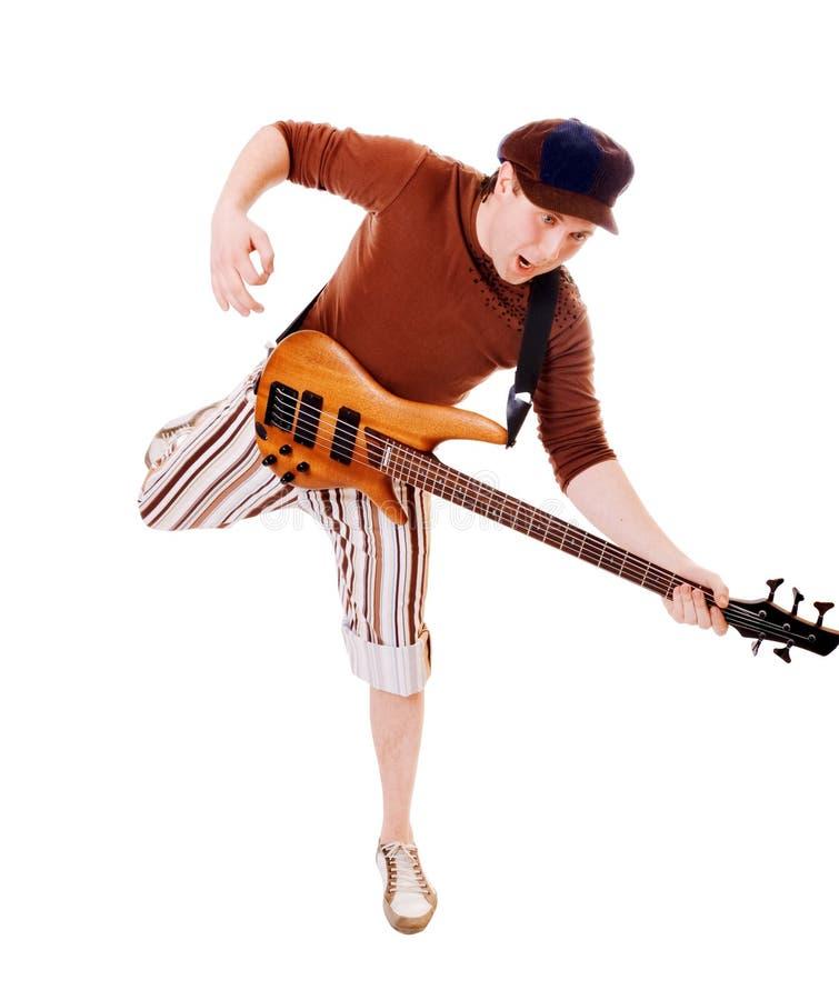 冷静吉他音乐家白色 库存图片