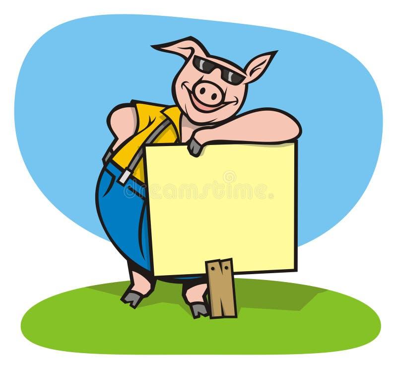 冷静猪符号 向量例证
