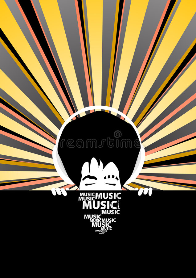 冷静质朴的耳机供以人员音乐海报 库存例证