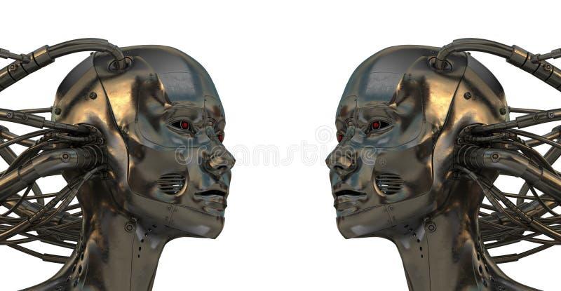 冷静靠机械装置维持生命的人机器人 库存例证
