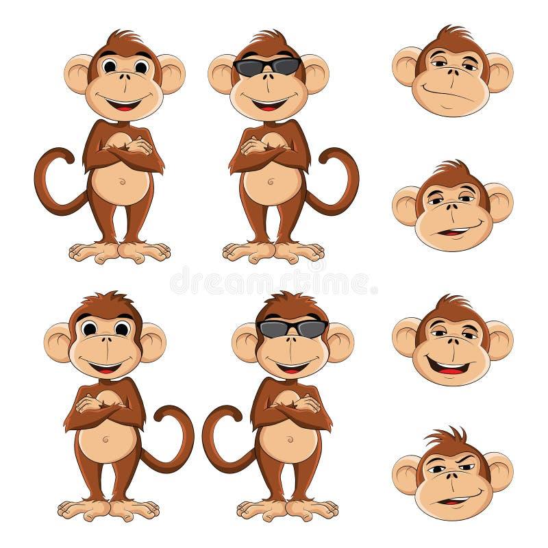 冷静猴子 向量例证