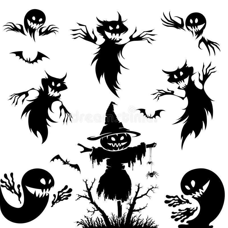 冷面万圣节例证收割机集合女巫吸血鬼向量 南瓜,笤帚,鬼魂,元素为万圣夜设计 库存例证