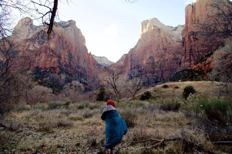 冷颤的早期的冬天早晨在锡安国家公园,犹他,美国 库存照片