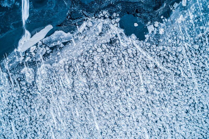 冻а冰表面的物料视图 库存图片