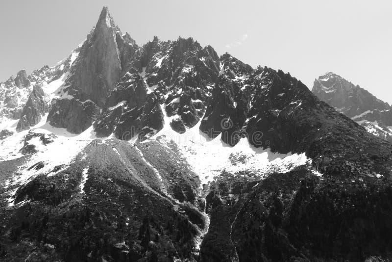 冻勃朗峰断层块在法国 免版税库存照片