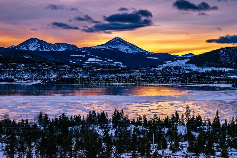冻湖布雷肯里奇,科罗拉多 免版税库存照片