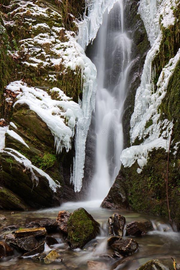 冻瀑布ith岩石和青苔和雪 免版税图库摄影