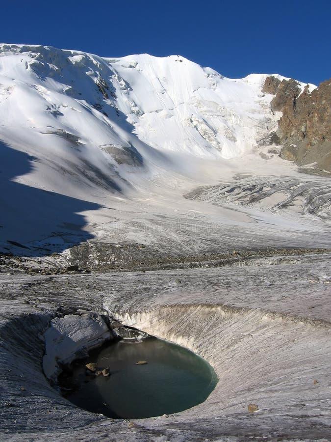 冻结的冰川湖山掸人tien 免版税图库摄影