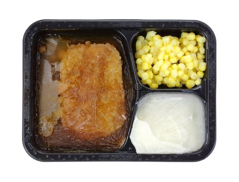 冻结的汉堡牛排膳食 免版税库存图片