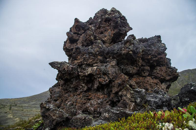 冻结的火山的熔岩石头数千在爆发以后的几年 免版税库存图片