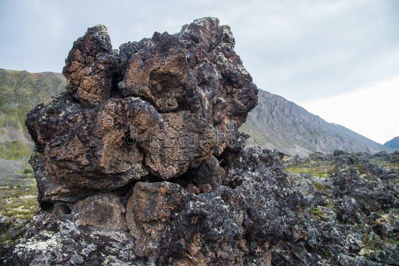 冻结的火山的熔岩石头数千在爆发以后的几年 库存照片