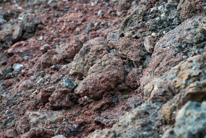 冻结的火山的colrful红色熔岩特写镜头纹理 免版税库存照片