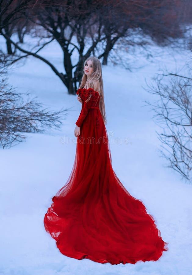 冻结的童话当中,华美的可爱的皇家褐红的不可思议的礼服的美妙的俏丽的白肤金发的公主故事红色和 免版税库存照片