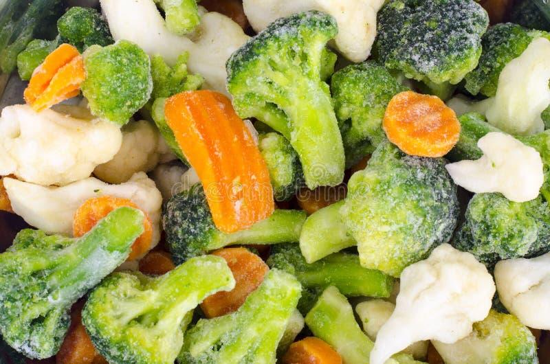 冻菜的混合在金属碗的 免版税库存照片