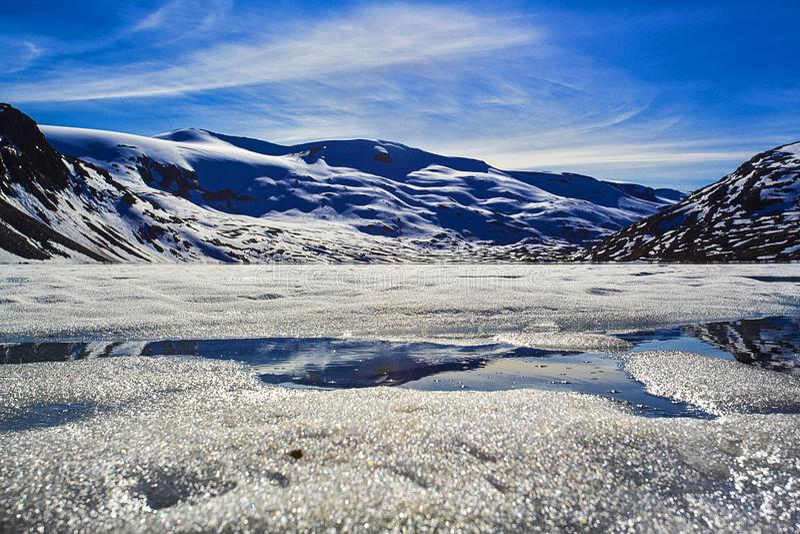冻Djupvatnet湖,挪威 库存图片