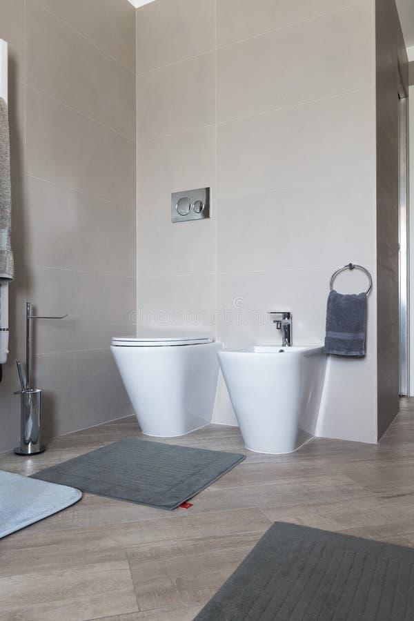 净身盆和wc在卫生间里 免版税库存图片
