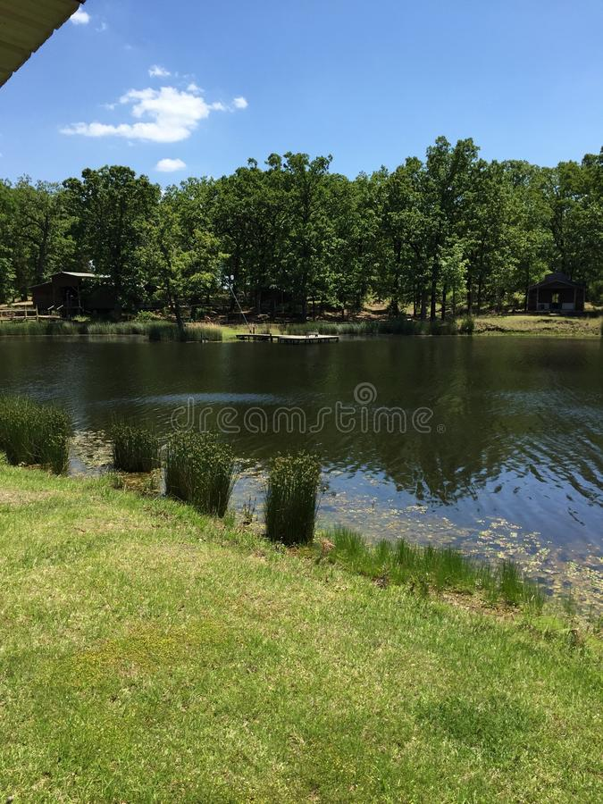准备为在湖度过夏天 库存图片
