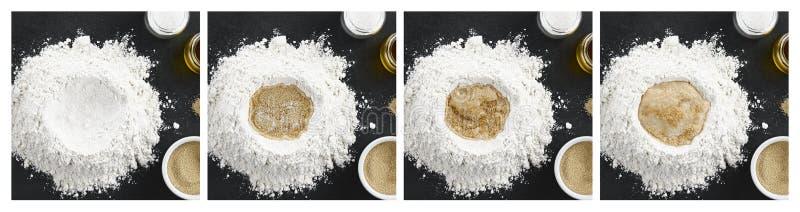 准备发酵面团的过程 库存照片