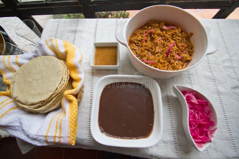 准备可口炸玉米饼的Cochinita Pibil成份 免版税图库摄影