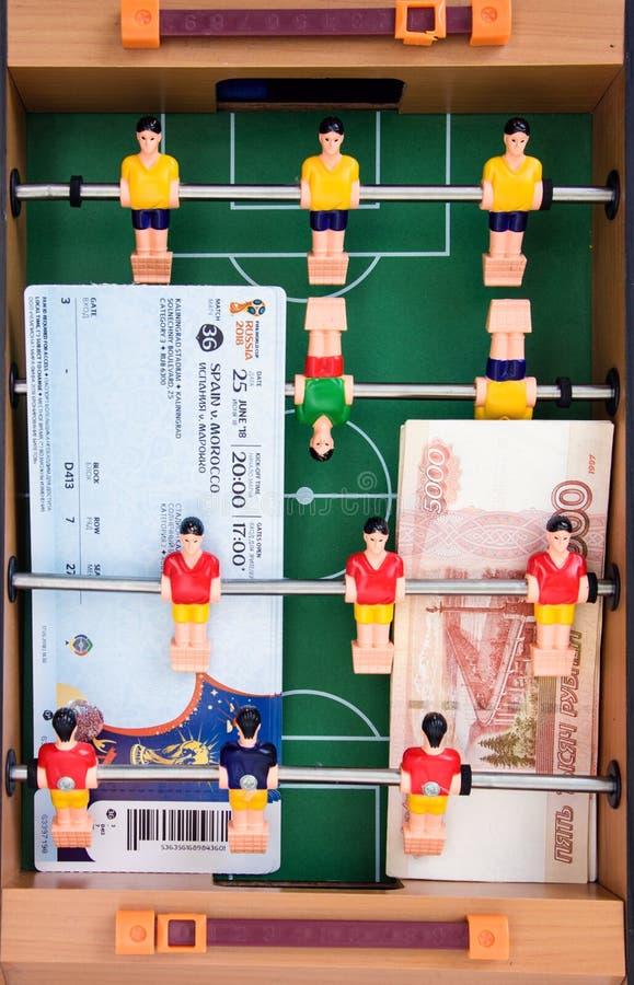 准备在2017年输入联邦杯和世界杯比赛2018年在俄罗斯 被设置的爱好者-钛 库存图片