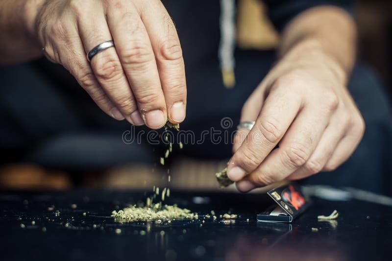 准备大麻大麻联接 使麻醉概念服麻醉剂 免版税库存照片