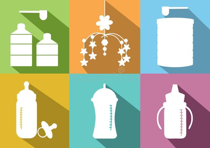 准备套婴孩牛奶的bottels和搽粉的牛奶,传染媒介例证 皇族释放例证